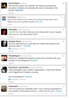 Popular tweets from the #askJPM 'Snarkpocalypse'