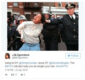 One of the more popular re-tweets from the unfortunate #myNYPD Twitter debacle.